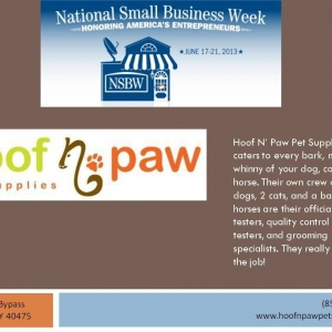 National Small Business Week client focus Hoof N' Paw Pet Supplies